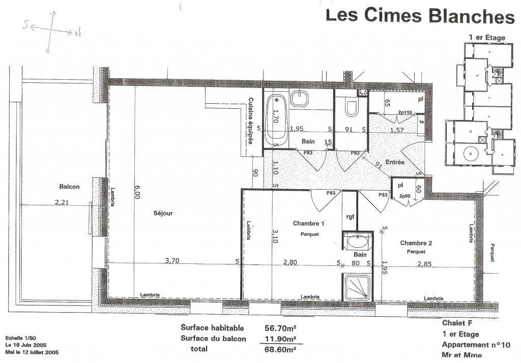 Plan de l 39 appartement apartment 39 s plan la rosiere 1850 a vendre appartement 3 pi ces 57 m2 - Plan appartement 120 m2 ...